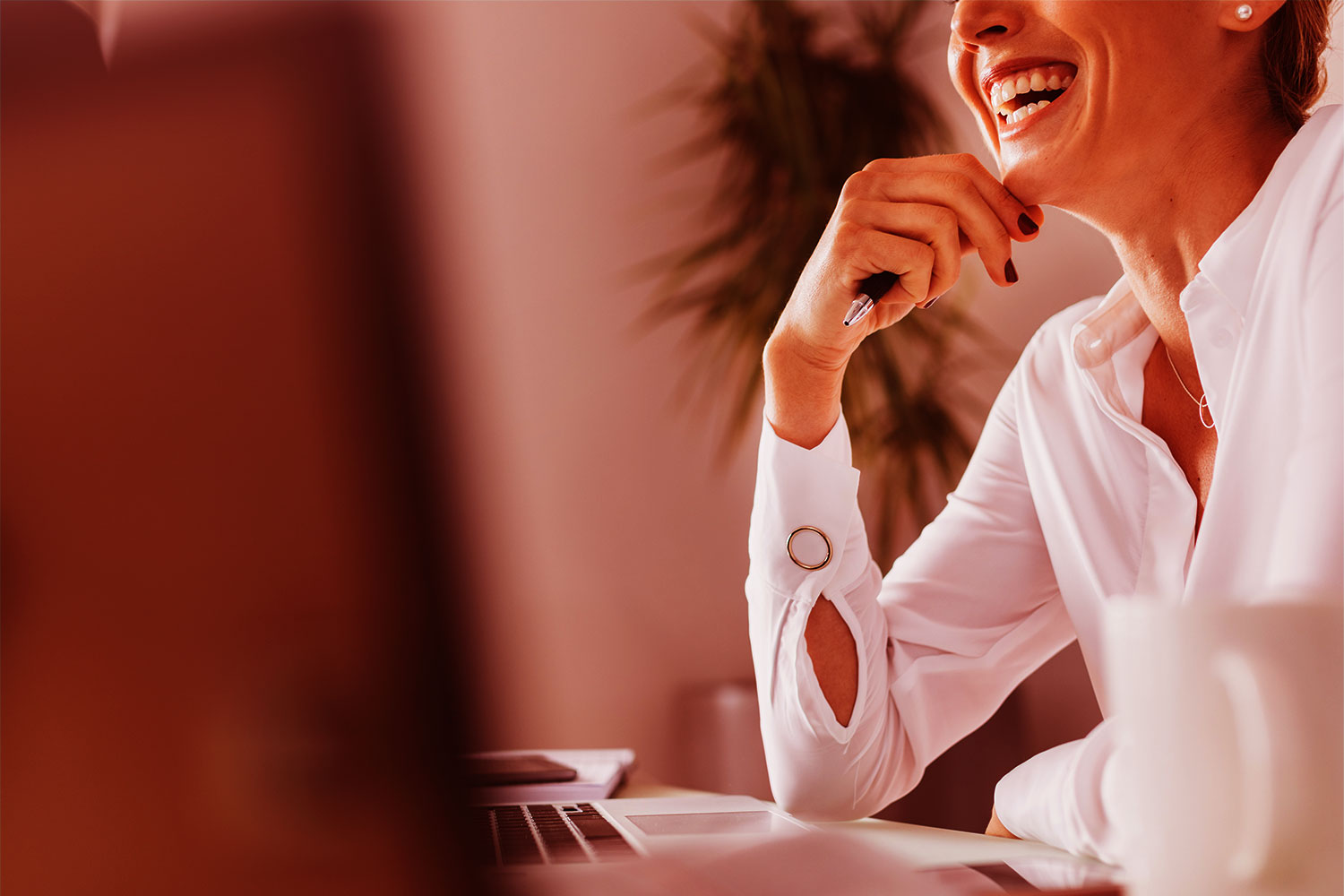 office woman laughing